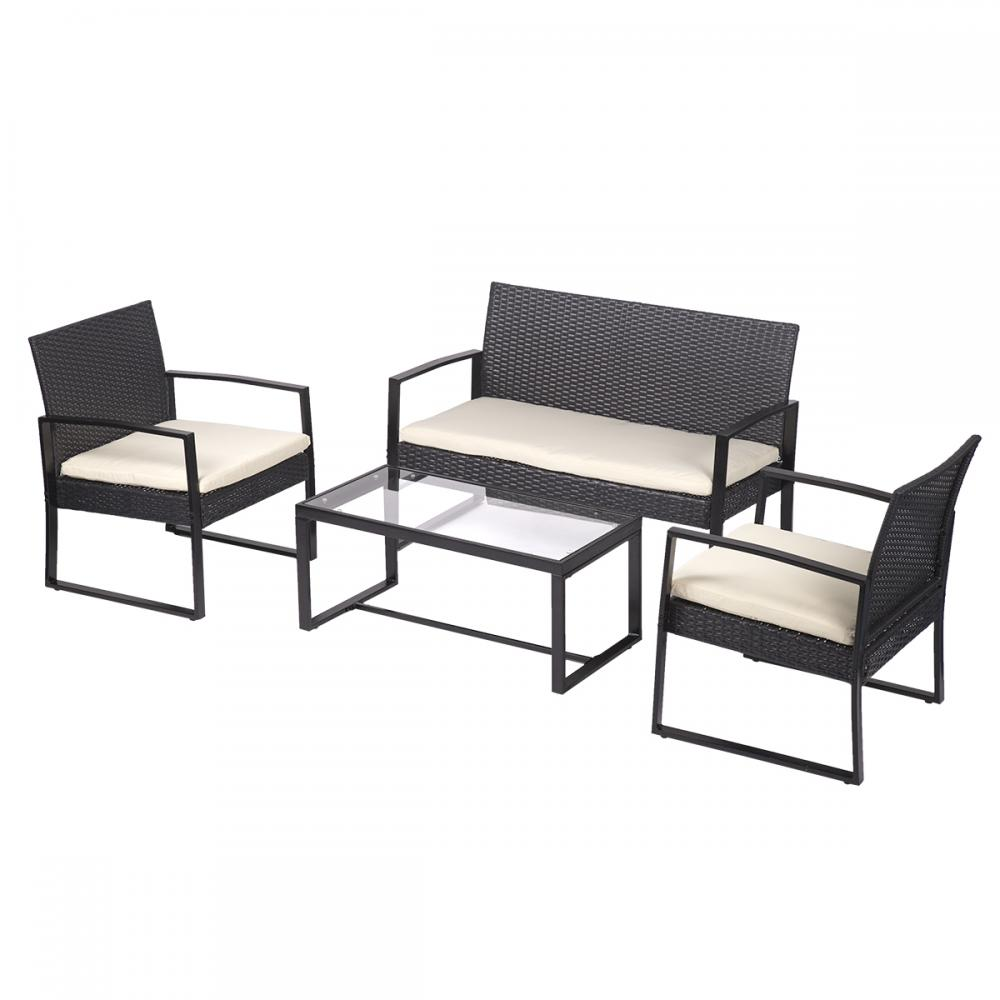 4 PCS Outdoor Patio Sofa Set Sectional Furniture PE Wicker Rattan Deck 40  Black