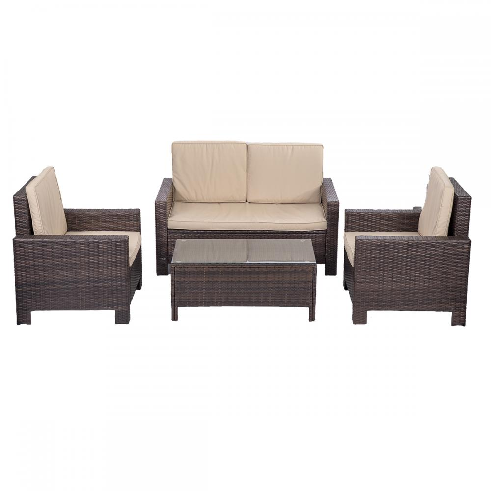 4pc pe rattan wicker sofa set cushion outdoor patio sofa for Sofa rinconera exterior