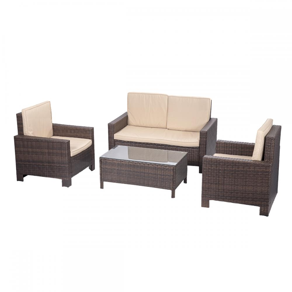 4pc pe rattan wicker sofa set cushion outdoor patio sofa. Black Bedroom Furniture Sets. Home Design Ideas