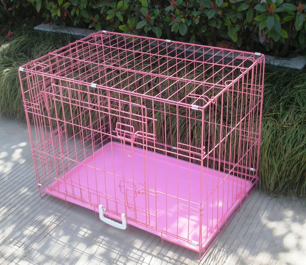 New Pink 48 Quot 2 Door Pet Cage Folding Dog Cat Crate Cage