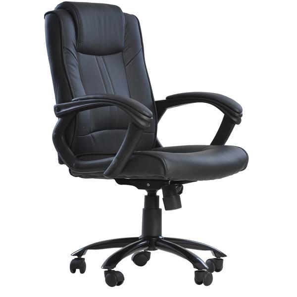 Black Pu Leather Ergonomic Office Executive Computer Desk