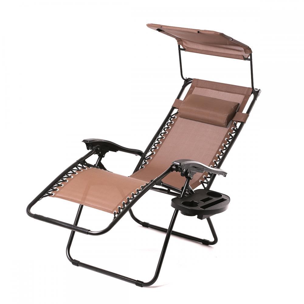 New 2 PCS Zero Gravity Chair Lounge Patio Chairs With Canopy Cup Holder HO74