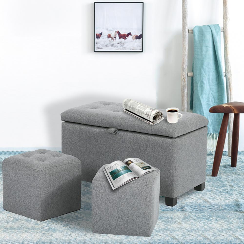 Details about Ottoman Bench Storage Bench Bedroom Fabric Tufted Upholstered  Stool Bench Set