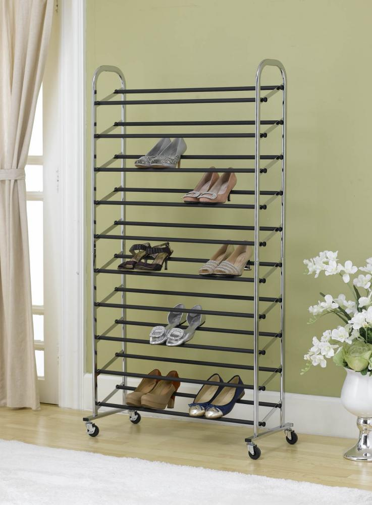 50 Pair Shoe Rack Storage Organizer 10 Tier Chorme Shoe Rack With ...