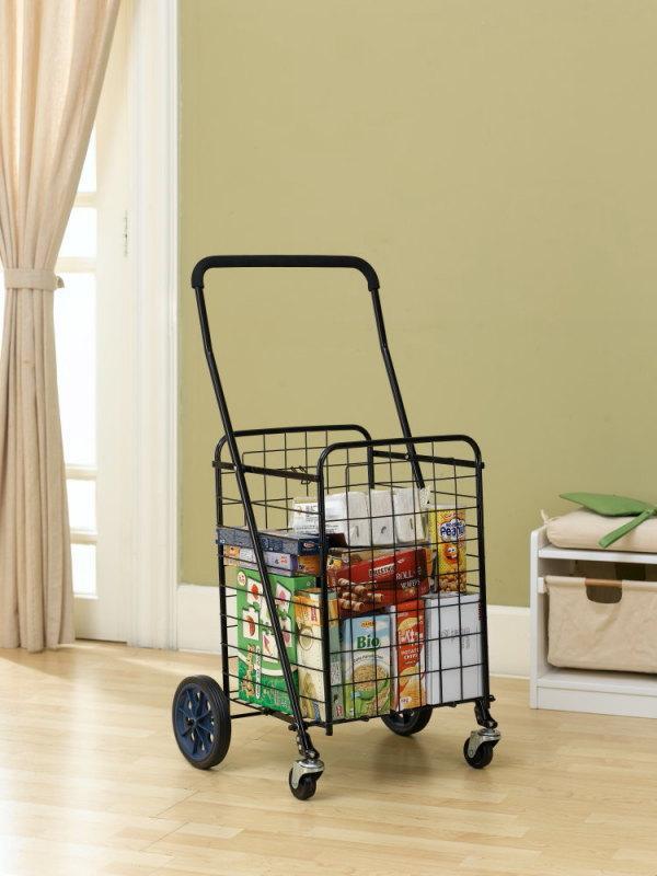 Folding Shopping Cart Jumbo Size Basket With Wheels For