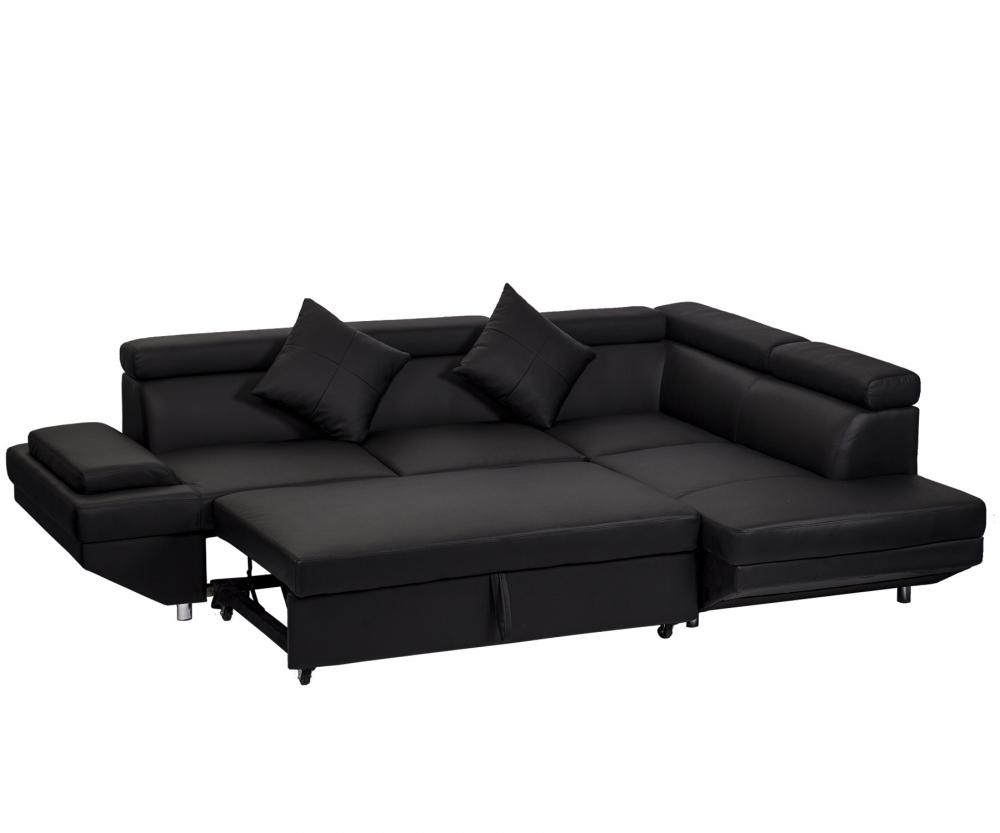 Contemporary Sectional Modern Sofa Bed Black With