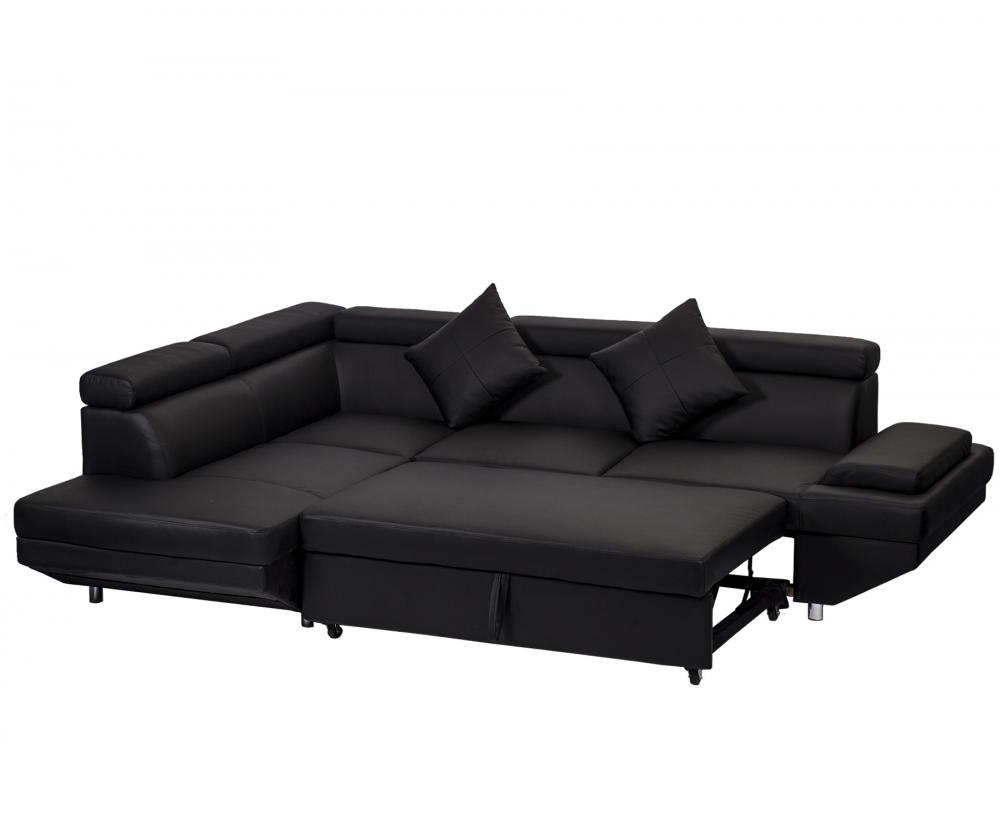 contemporary sectional modern sofa bed black with functional armrest back l 848837015084 ebay. Black Bedroom Furniture Sets. Home Design Ideas