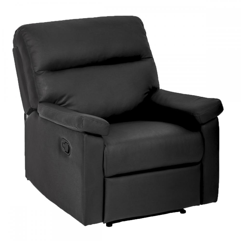 Black Recliner Sofa Chair Home Lounge With Padded Seat Backrest 024