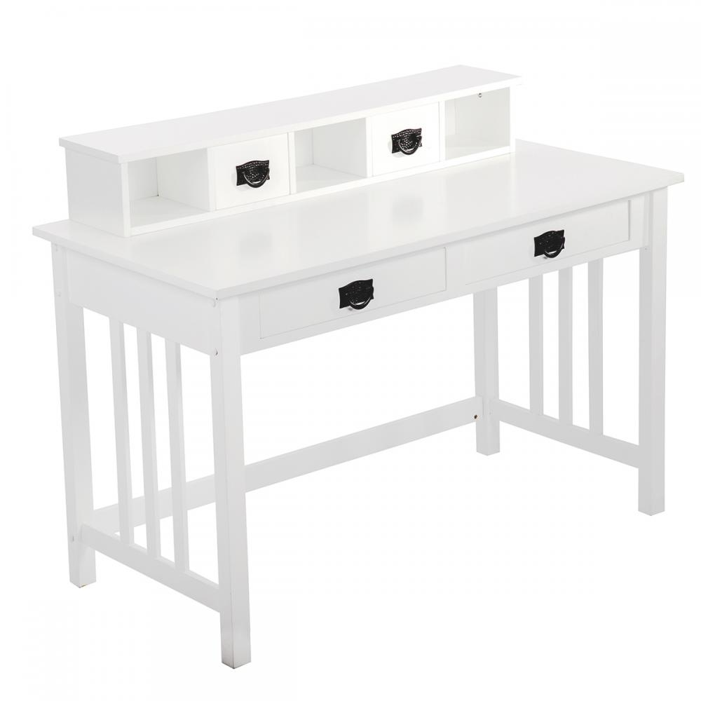 White Writing Contemporary Desk Home Office Furniture Wood Drawers Storage 29