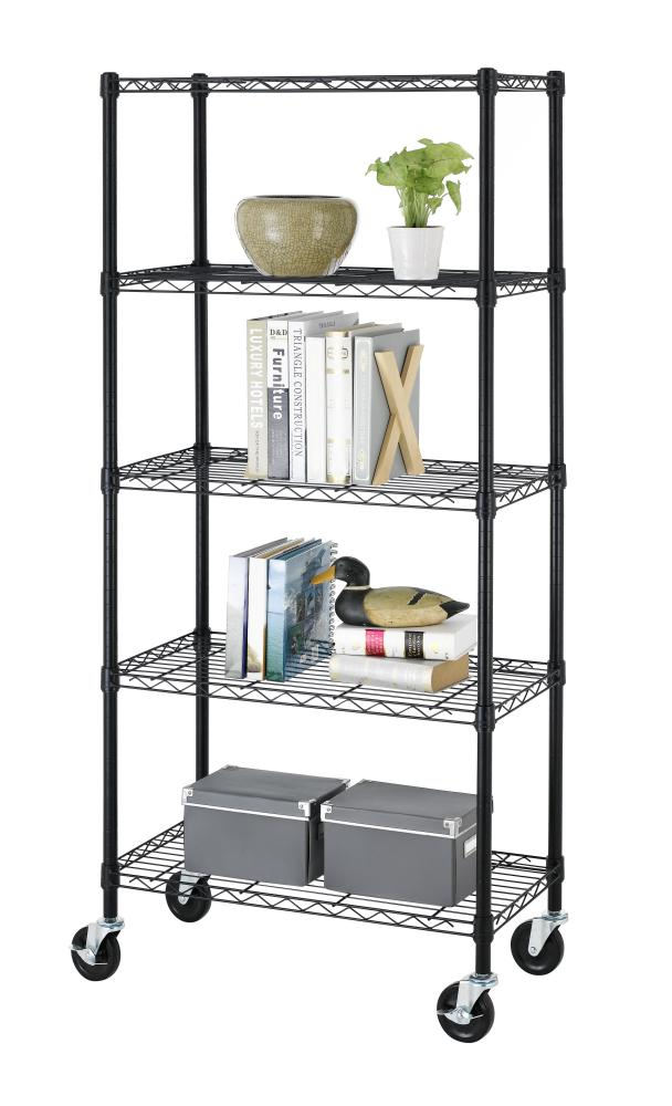 5 Shelf Black Steel Wire Shelving 30 By 14 By 60 Inch