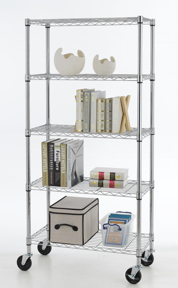 5 Shelf Chrome Steel Wire Shelving 30 By 14 By 60 Inch