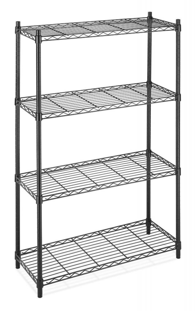 Black Storage Rack 4tier Organizer Kitchen Shelving Steel Wire