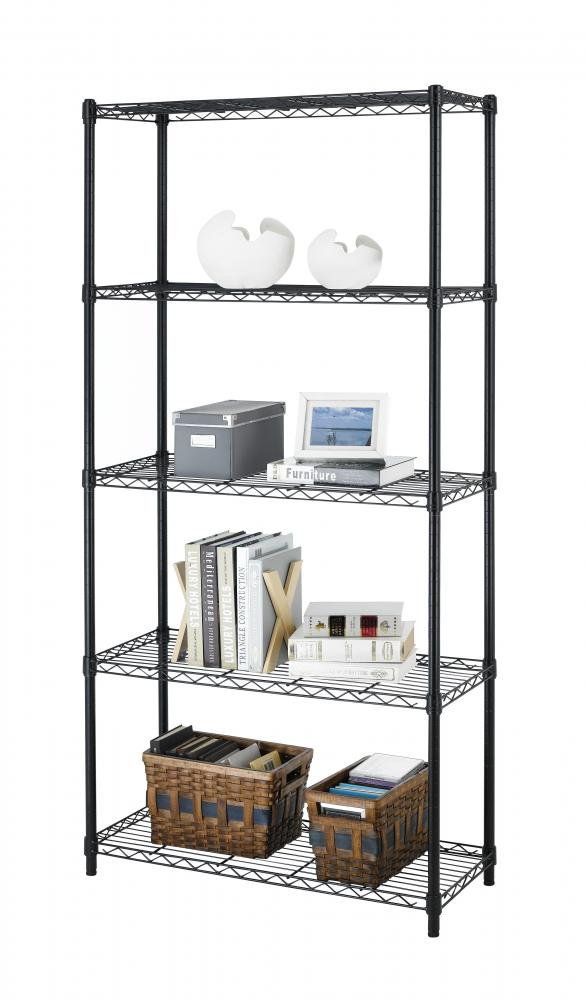 Chrome Black 5 Shelf Steel Wire Tier Layer Shelving 72 Quot X36
