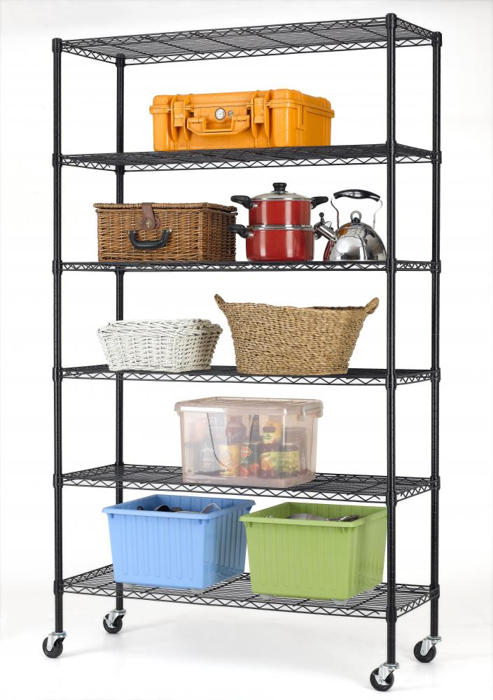 commercial metal shelving 82 quot x48 quot x18 quot 6 tier layer shelf adjustable wire 13753