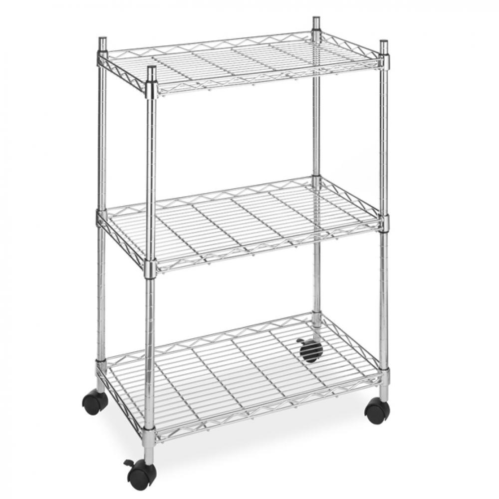 Superbe NEW Wire Shelving Cart Unit 3 Shelves W/casters Shelf Rack Wheels Chrome