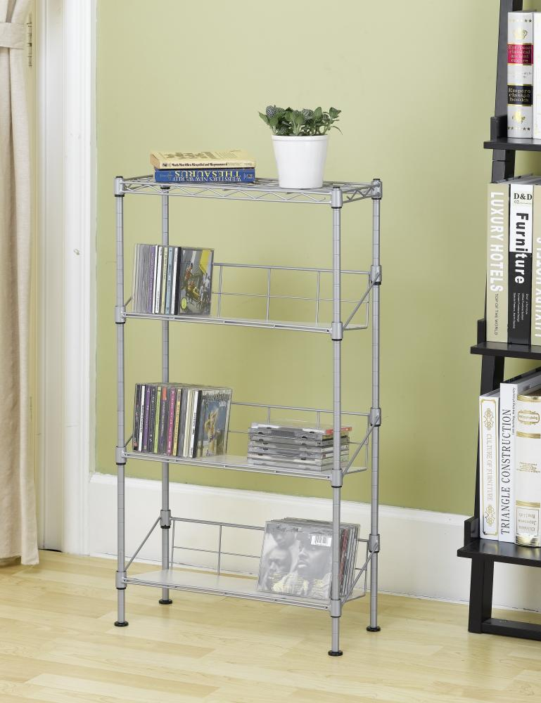 New Silver 4 Tier Media Rack Cd Rack Stand Racks Organizer