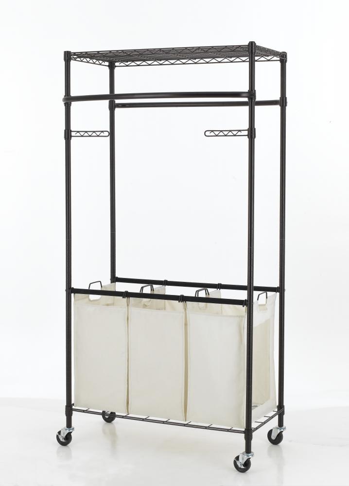 New Bronze 2-Tier Rolling Clothing Garment Rack Shelving Wire Shelf ...