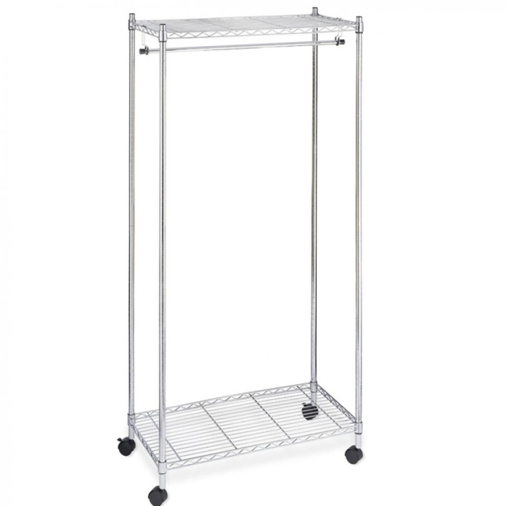 new chrome 2tier rolling clothing garment rack shelving wire shelf dress g70