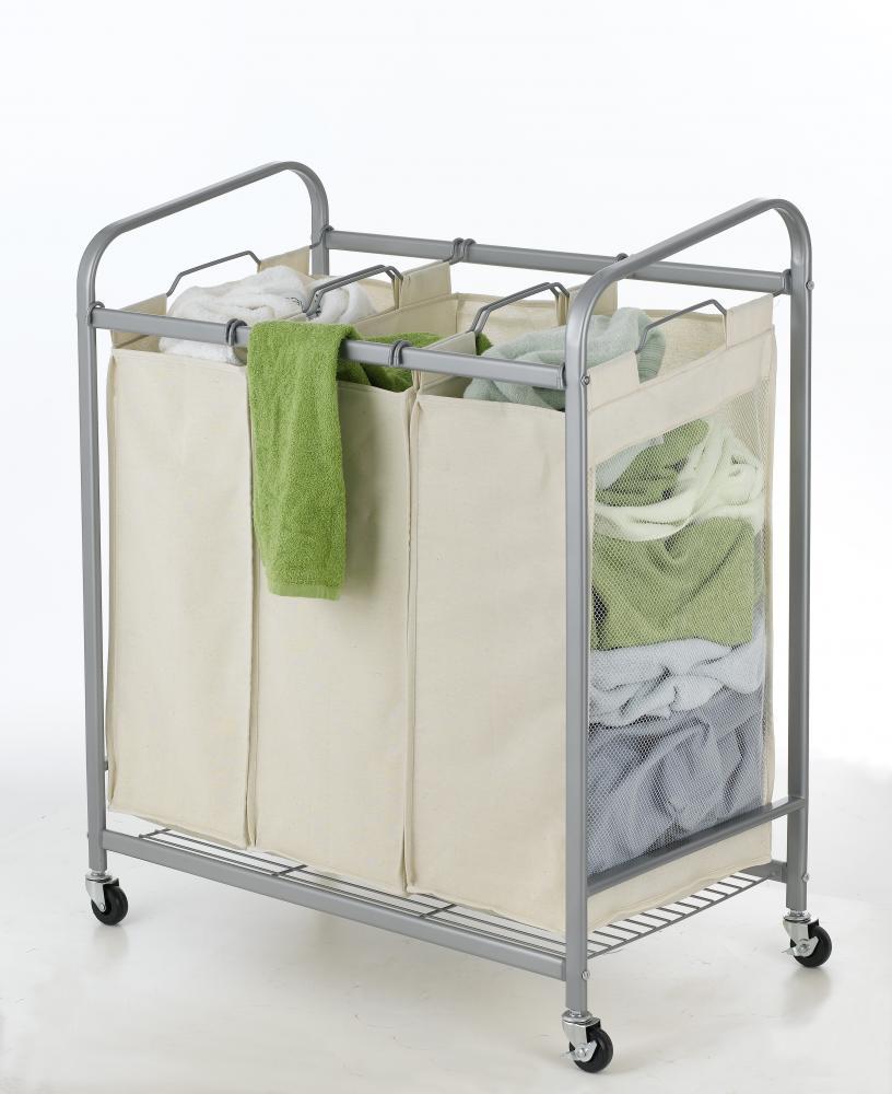 3 bag laundry sorter. HeavyDuty 3Bag Laundry Sorter Cart Hamper Organizer LS03 Beige 3 Bag L