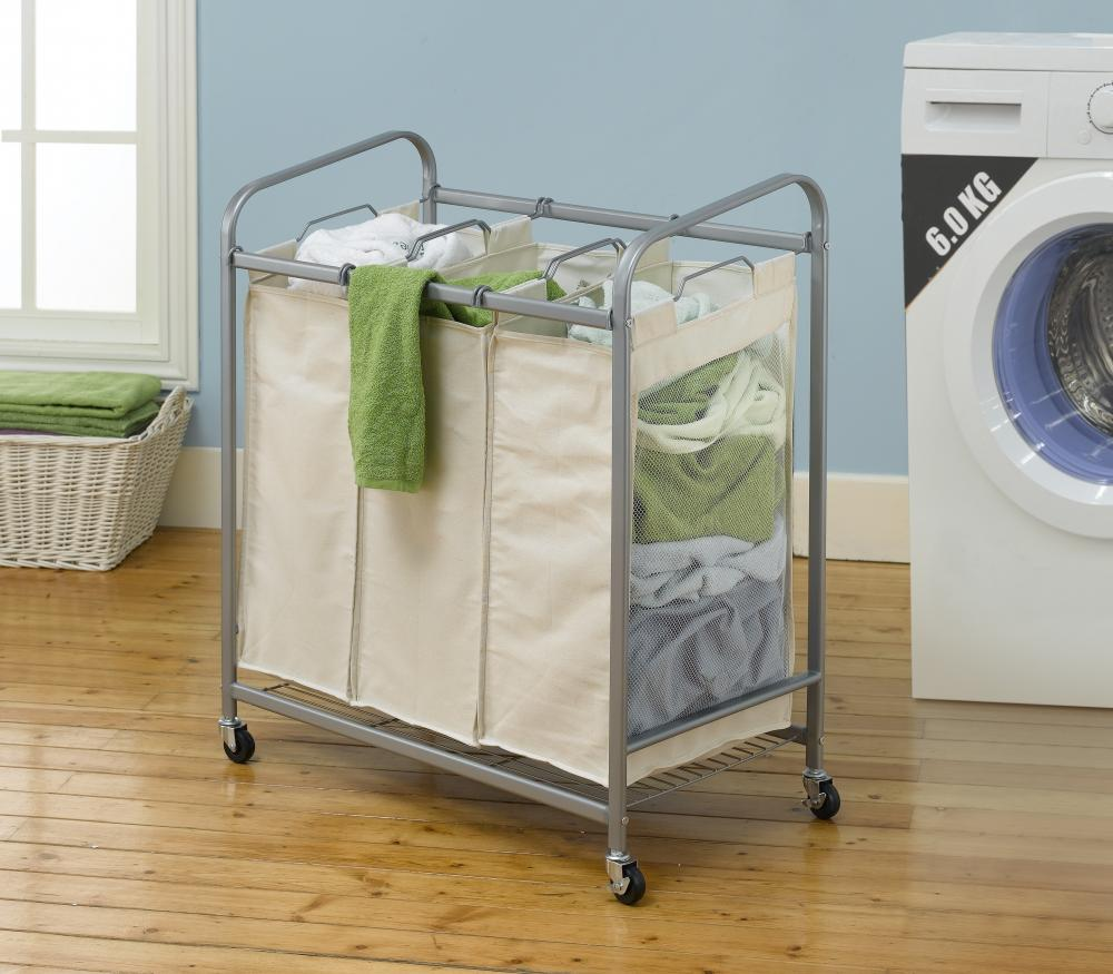 Heavy Duty 3 Bag Laundry Sorter Cart Hamper Organizer Ls03