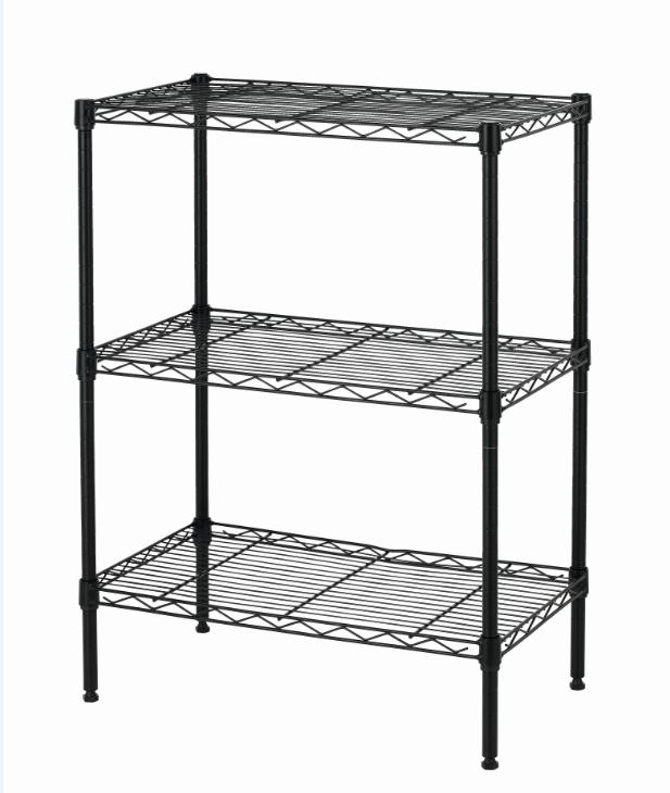 New Wire Shelving Cart Unit 3 Shelves Shelf Rack Black T53