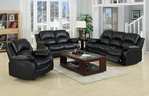 Real Genuine Leather Recliner Sofa 3 2 1 Suite New Black