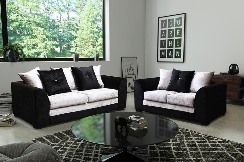 Delightful Dylan Crushed Velvet Black And Grey 3+2 Seater Sofas Brand New Design Modern