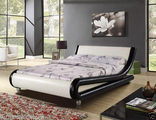 Enzo italian modern designer double or king size leather for Designer king size beds