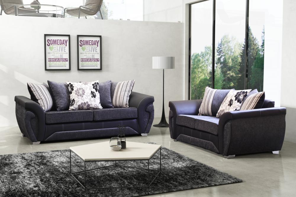 Sale New Las Vegas Fabric Sofa Suite 3 2 1 In 2 Colours Leather Luxury 3 Piece Ebay