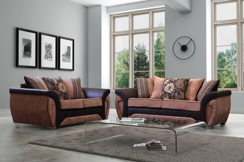 Las Vegas Sofa 3+2+1 Set Suite Couch Settee Fabric Sofas Black Grey ...