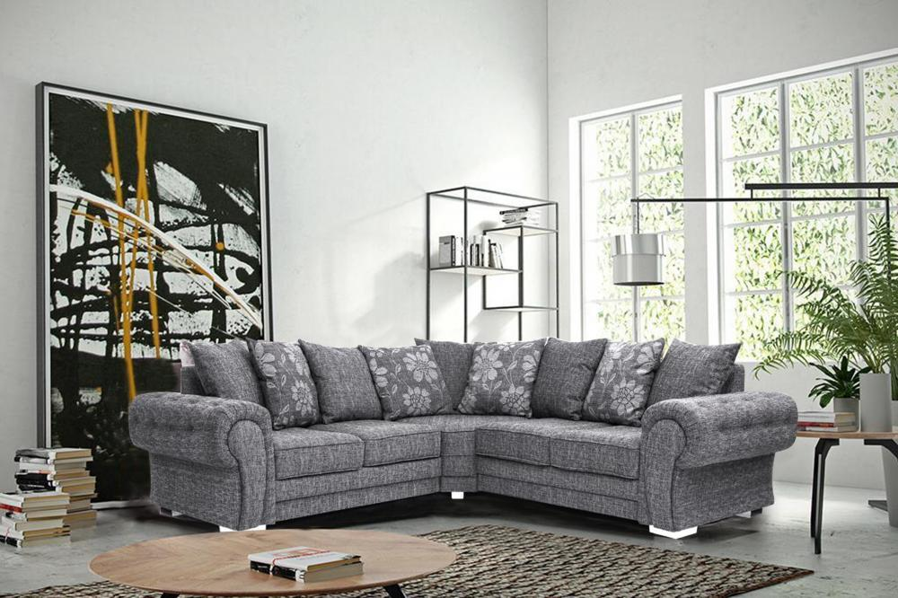 huge selection of 12f42 c42e9 Details about Malmo Fabric Corner Sofa Grey L Shape Large 5 Seater Foam  Seats Suite Modern