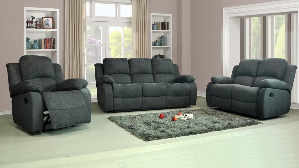 Recliner sofas fabric 3 2 1 charcoal or light grey 3 piece for Furniture 3 piece suites