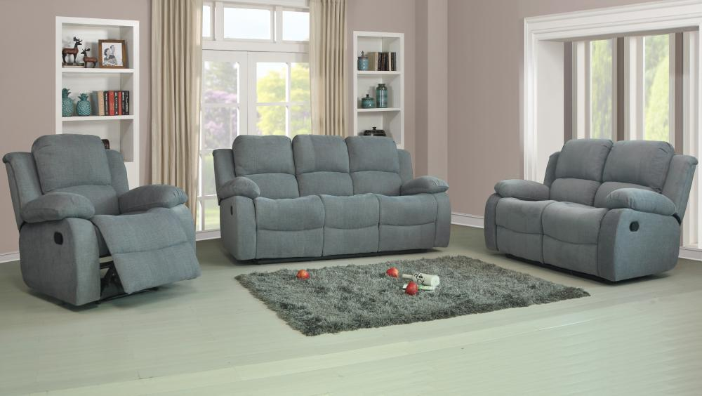 Recliner Sofas Fabric 3 2 1 Charcoal Or Light Grey 3 Piece