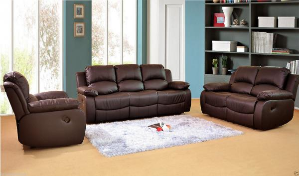 Valencia Sofas Leather Recliner Sofa Suite Brown Settee Couch Two