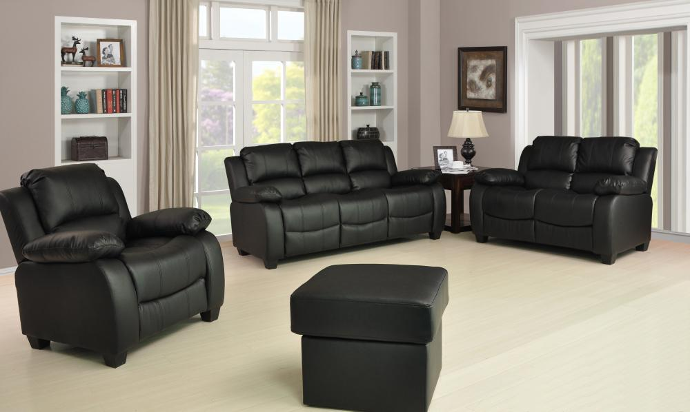 new valerie luxury leather sofa suite black brown cream 3 2 1 three piece pouffe ebay