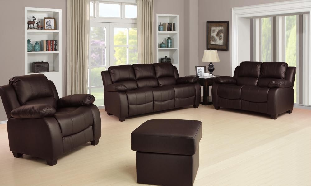 new valerie luxury leather sofa suite black brown cream 3 2 1 three piece pouffe ebay. Black Bedroom Furniture Sets. Home Design Ideas