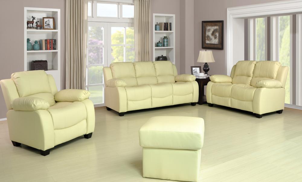 New Valerie Luxury Leather Sofa Suite Black Brown Cream 3