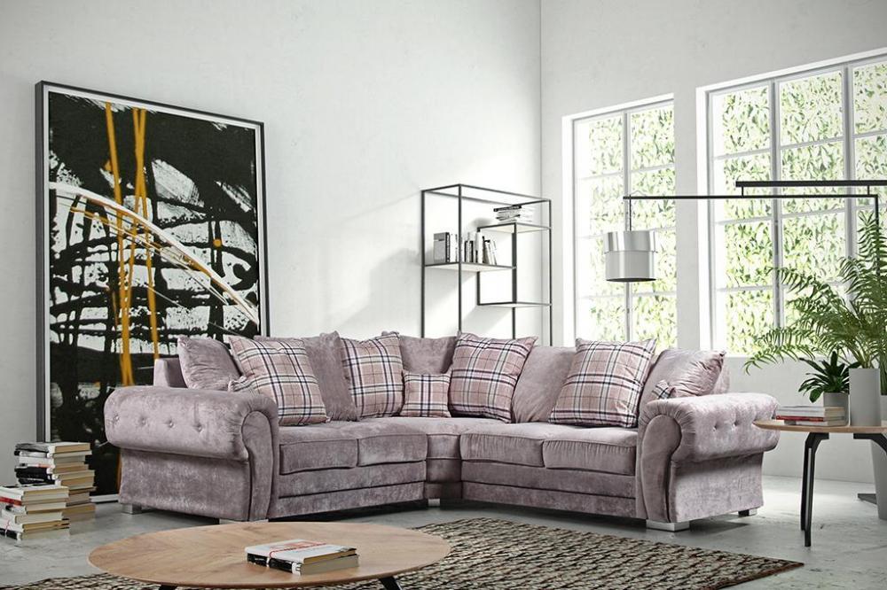 Verona Fabric Corner Sofa Group Large 3+2+1 Grey Mink New ...