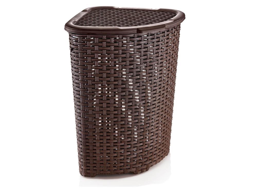 Plastic Rattan Corner Laundry Linen Basket Bin With Lid Ebay