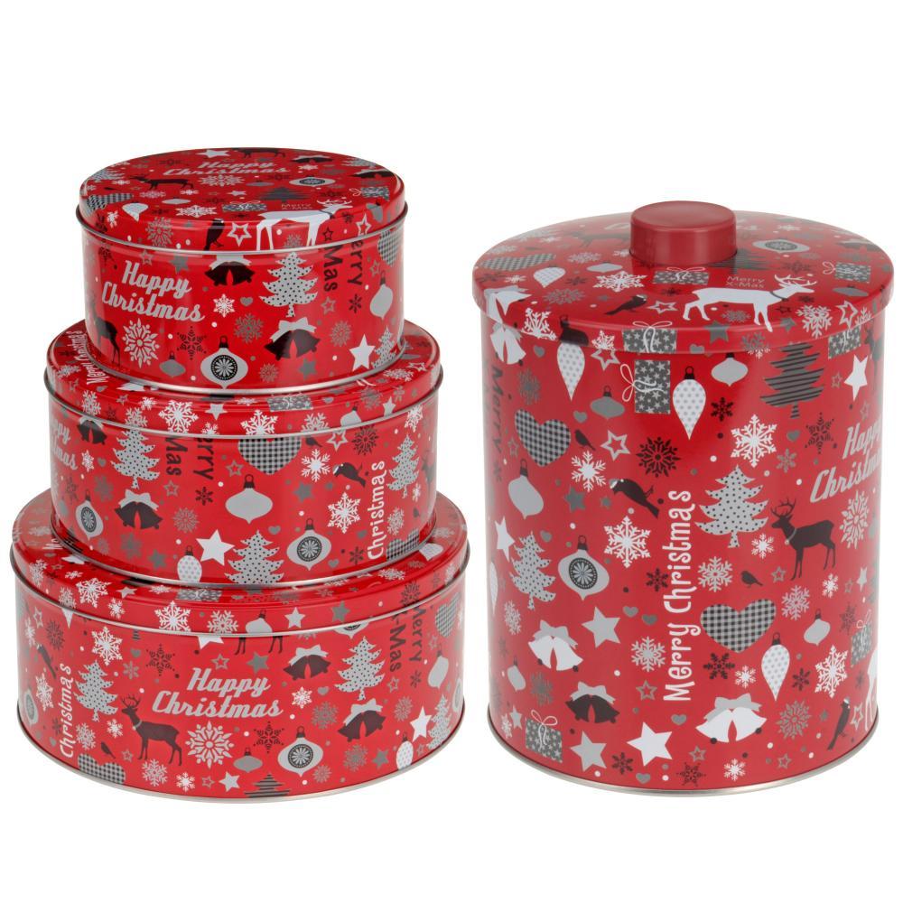 Christmas Cake Storage Tins