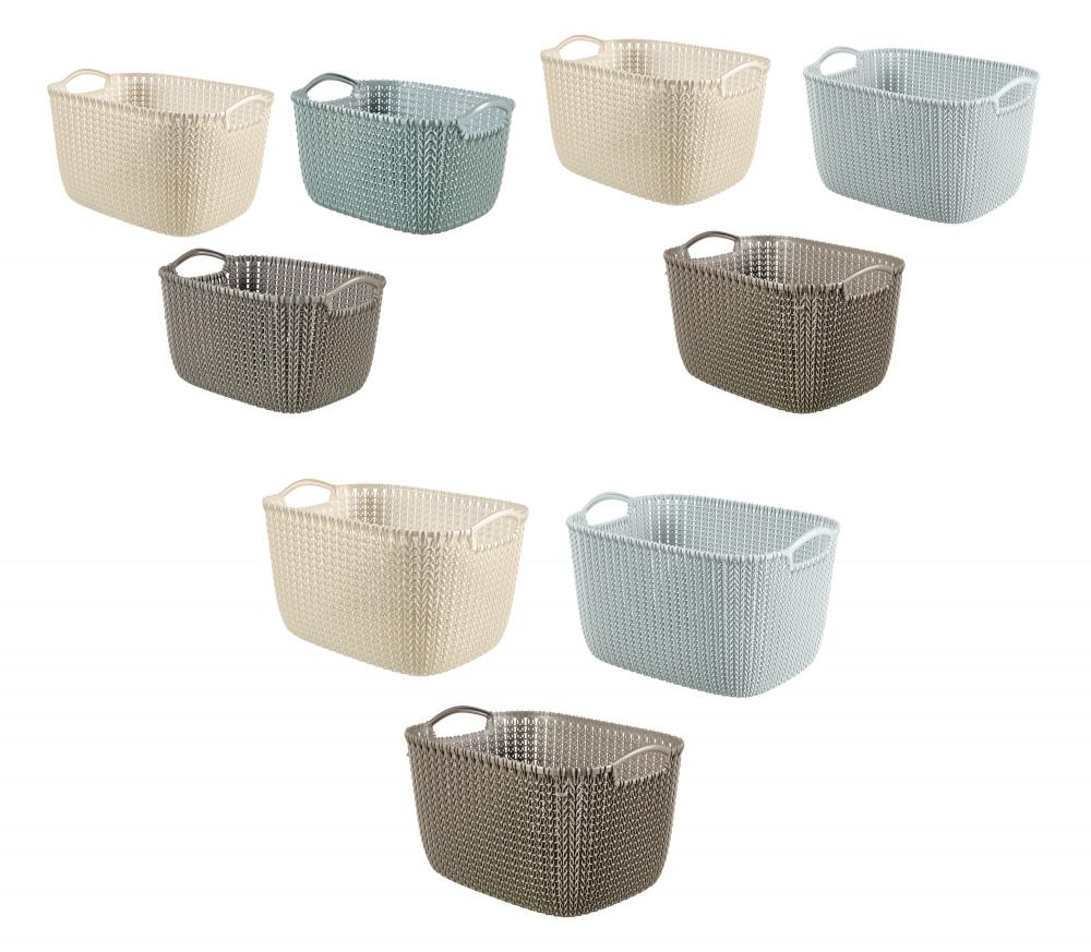 Curver Sand Knit Storage Baskets: Curver Knit Collection Rectangle Handled Plastic Kitchen