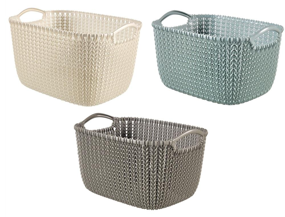 Knitting Baskets Uk : Curver knit collection rectangle handled plastic kitchen