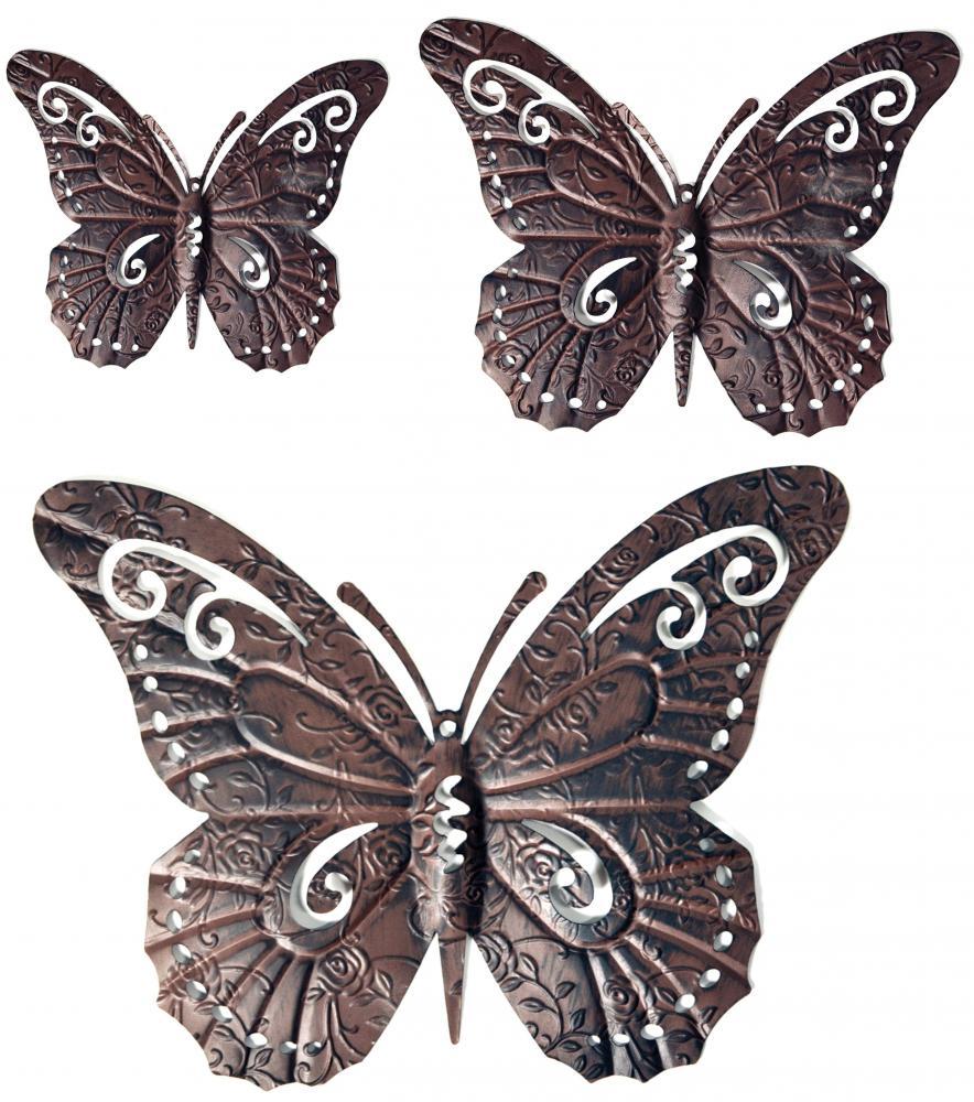 Dark Brown Metal Butterfly Wall Art Fence Garden