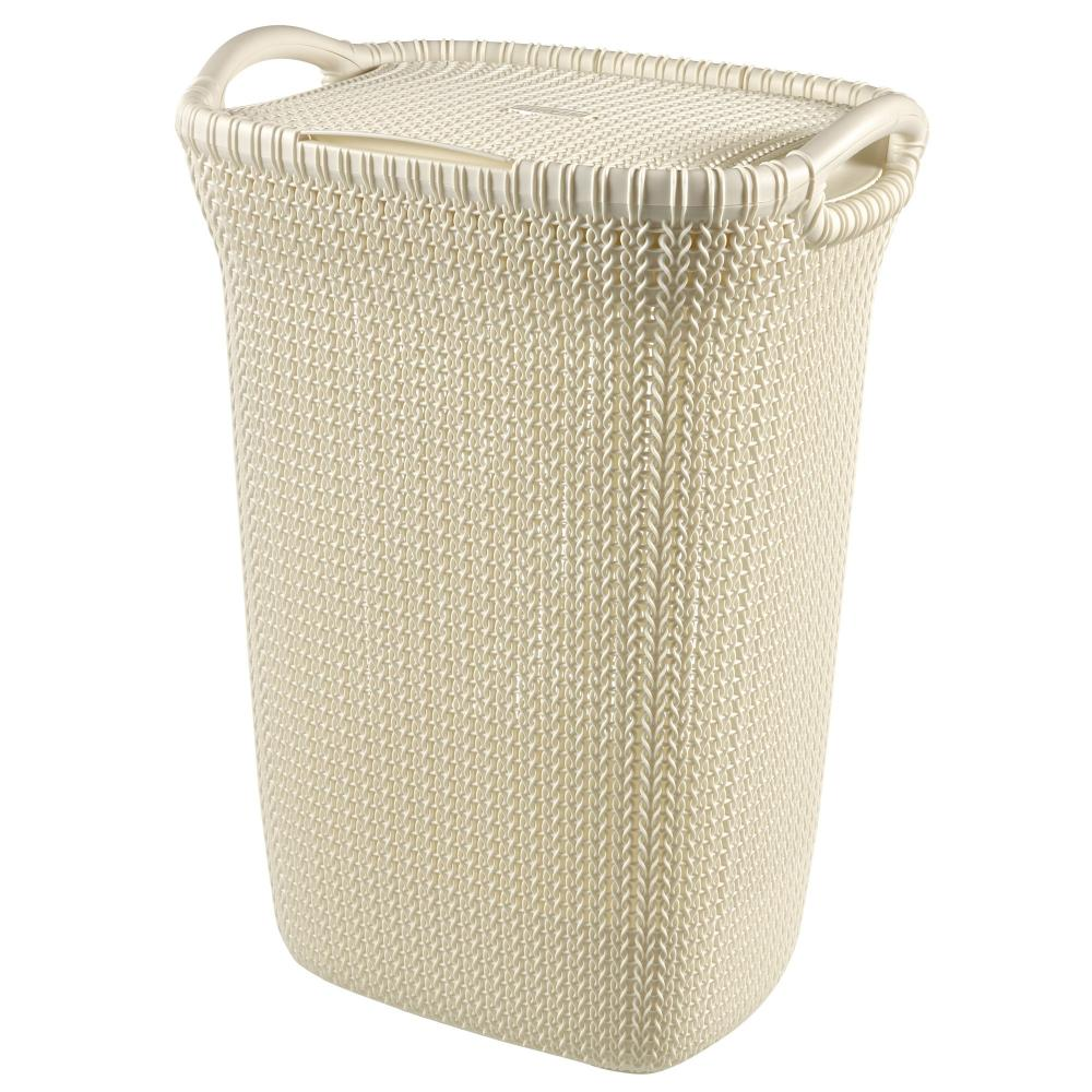 Curver Sand Knit Storage Baskets: Curver Knit Collection 57Lt Lidded Plastic Laundry Linen