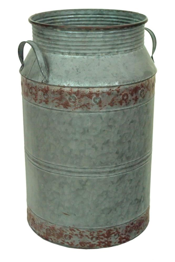 Vintage Retro Galvanised Metal Milk Butter Churn Flower Vase Wedding