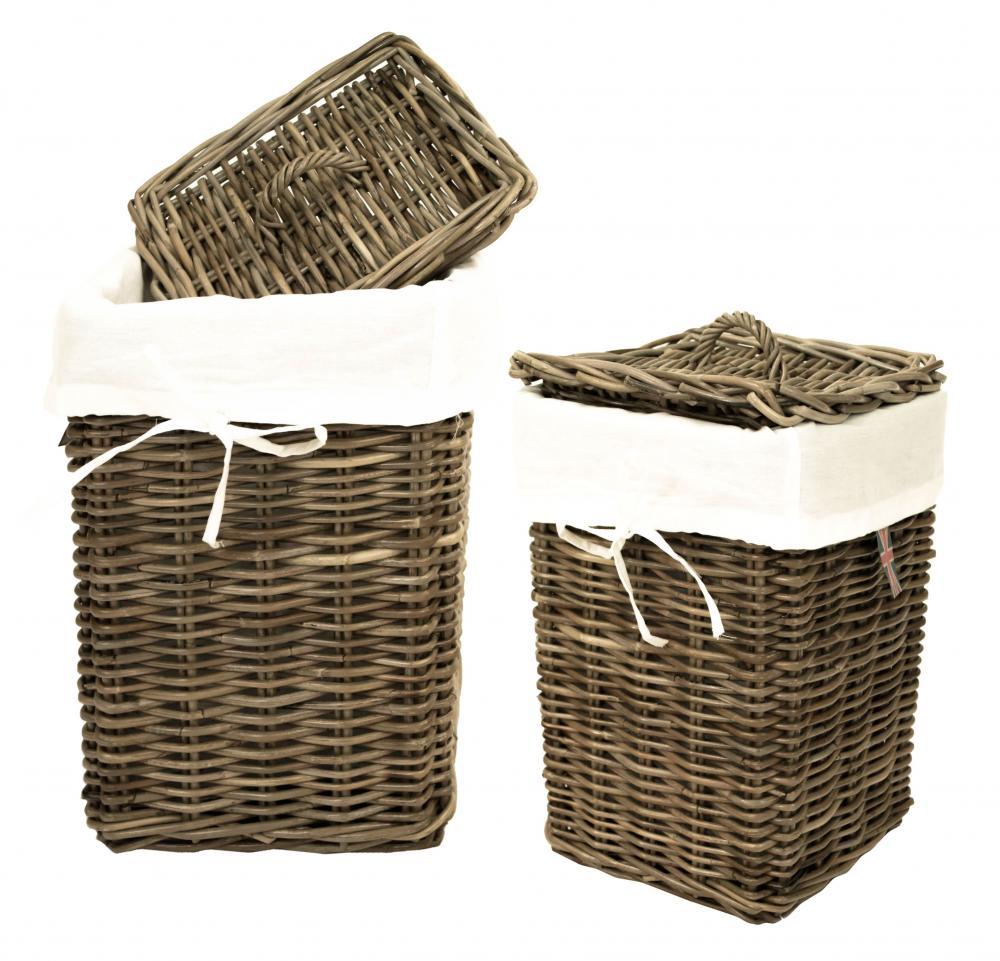 Grey Wash Wicker Storage Basket: E2e Grey Kubu Rectangular Rattan Lidded Wicker Linen