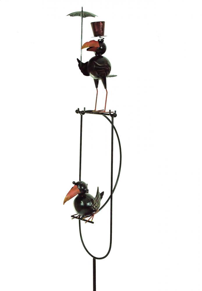E2e Rocking Balancing Black Crow Metal Garden Wind Ornament Decoration