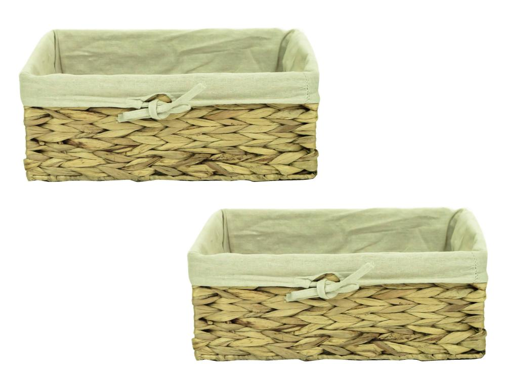Natural woven water hyacinth shallow wicker storage basket box with liner ebay - Wicker hamper with liner ...