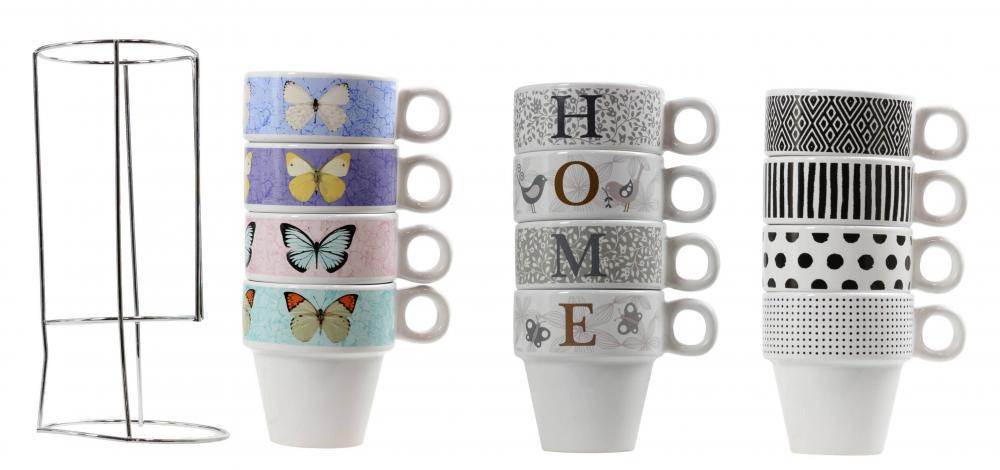 Set Of 4 Stacking Tea Coffee Cup Mug With Metal Stand