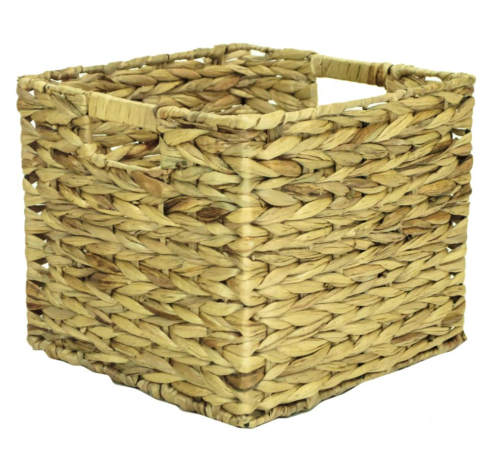 Natural Woven Water Hyacinth Deep Square Storage Basket